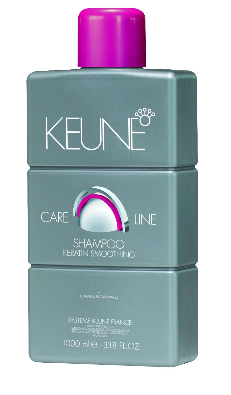 KEUNE Шампунь Кэе Лайн Кератиновый комплекс / CL KERATIN SMOOTHING SHAMPOO 1000млШампуни<br>Разглаживающий и укрепляющий шампунь. Содержит кератин и провитамин B5, которые питают и увлажняют волосы, придают блеск. Quat Complex защищает от механических повреждений. Активные ингредиенты:кератин, провитамин В5, Quat Complex. Способ применения: нанесите необходимое количество увлажняющего шампуня на влажные волосы, вспеньте, помассируйте в течение 1-2 минут, после чего тщательно смойте водой.<br><br>Вид средства для волос: Разглаживающий<br>Типы волос: Для всех типов
