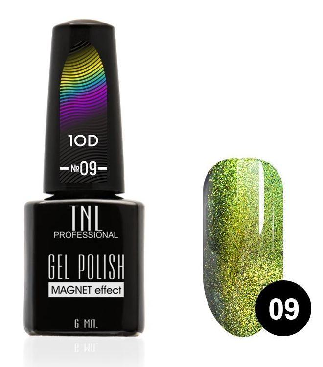 Купить TNL PROFESSIONAL 09 гель-лак для ногтей Кошачий глаз 10D, золотой малахит 6 мл, Зеленые
