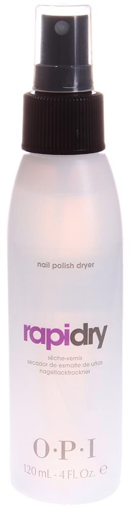 OPI Жидкость для быстрого высыхания лака / RapiDry Spray Nail Polish Dryer 120млСушки<br>Средство для сушки лака - придает поверхности лака гладкость, твердость и обеспечивает прочное закрепление. Не оставляет жирных следов и не раздражает кожу рук. Содержит масло и поэтому не сушит кутикулу и ногти. Защищает лак после высыхания невидимой силиконовой пленкой.<br><br>Объем: 120