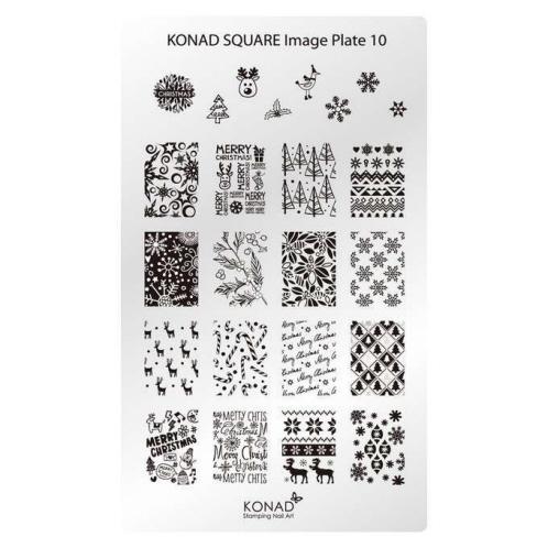 KONAD Пластина прямоугольная / Square Image Plate10 30грСтемпинг<br>Пластина для стемпинга Конад Square Plate 10 с узорами на тему долгожданного Нового года! Пластины для стемпинга также называют плитками. На них Вы найдете гораздо больше рисунков для ногтей, чем на обычных дисках.&amp;nbsp; Размер пластины: 135х80 мм Активные ингредиенты: сталь Способ применения: нанесите специальный лак&amp;nbsp;на рисунок, снимите излишки скрайпером, перенесите рисунок сначала на штампик, а затем на ноготь и Ваш дизайн готов! Не переставайте удивлять себя и близких красотой и оригинальностью своего маникюра!<br>