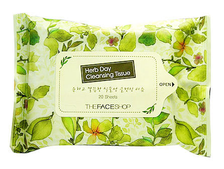 THE FACE SHOP Салфетки очищающие / Herb Day Cleansing Tissue 20 шт