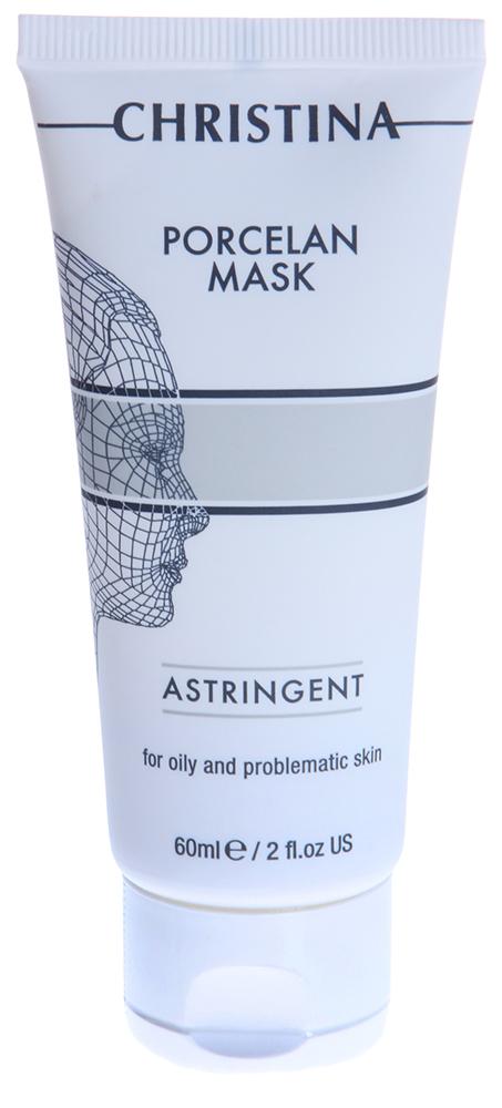 CHRISTINA Маска поросуживающая для жирной и проблемной кожи Порцелан / Astrigent Porcelan Mask 60млМаски<br>Действие: Маска предназначена для кожи с расширенными порами и акне. Она дезинфицирует, тонизирует и осветляет кожу (каолин - белая глина из Японии, оксид цинка, биологическая сера, камфора). Триклозан оказывает выраженный противовоспалительный эффект. Морской коллаген и гиалуроновая кислота увлажняют, а экстракт мимозы и масло эвкалипта успокаивают кожу. Маска восстанавливает кислотно-щелочной баланс, нормализует секрецию сальных желез. Состав: Деионизированная вода, каолин, цетиловый спирт, глицерил стеарат, оксид цинка, алкоголь-40, цетеарил октаноат, диоксид титания, натрия лаурил сульфат, сера, полисорбат-80 ПВП, камфора, розин (Rozin), аллантоин, метилпарабен, пропилпарабен, триклозан, салициловая кислота, морской коллаген, экстракт мимозы, эвкалиптовое масло. Применение: Применять 1-2 раза в неделю: препарат наносится на очищенное лицо, смывается теплой водой после высыхания.<br><br>Объем: 60<br>Вид средства для лица: Морской<br>Назначение: Акне, постакне