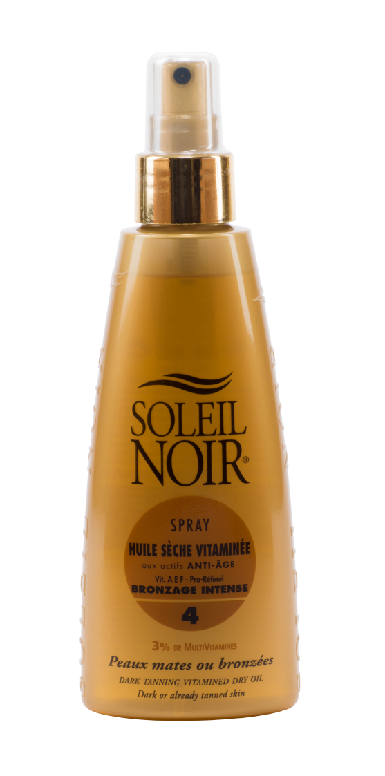 SOLEIL NOIR Масло спрей сухое антивозрастное витамин. Интенсивный загар SPF4 / HULE SECHE VITAMINEE 150млСпреи<br>Сухое масло SOLEIL NOIR в формате спрея   идеальный вариант исключительно глубокого питания кожи. Оно создает легкий эффект пленки   результат подтягивающего эффекта, при этом не оставляет липкости. Сухое масло усиливает загар, придает коже матовое сияние, увлажняет и омолаживает ее. Средство подходят для ежедневного ухода за кожей, а также для применения в солярии, поэтому им можно пользоваться в течение всего года, а не только на курорте. Активные ингредиенты:   Витамины А, Е, С и F c жирными кислотами Омега-3 оказывают антиоксидантное действие и предотвращают образование свободных радикалов   Провитамин В5 способствует регенерации, повышению эластичности и смягчению кожи   Масла оливы, зародышей пшеницы, кунжута, вечерней примулы и бурачника питают и восстанавливают   Масло мускусной розы нормализует обменные процессы   Масло моркови улучшает регенерацию Способ применения: нанести перед выходом на солнце или перед посещением солярия. Обновлять слой средства по необходимости.<br>