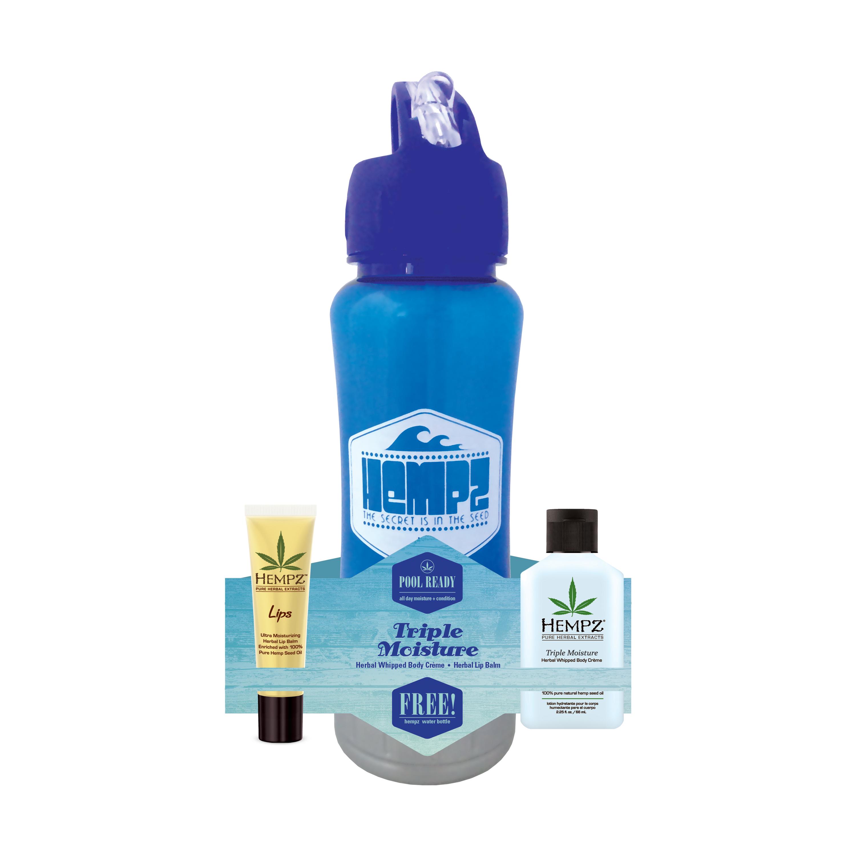 HEMPZ Набор Тройное увлажнение Спорт (бальзам для губ SPF 15 14 г, молочко для тела 66 мл, спортивная бутылка для воды в подарок) Pool Ready Triple Moisture - Наборы