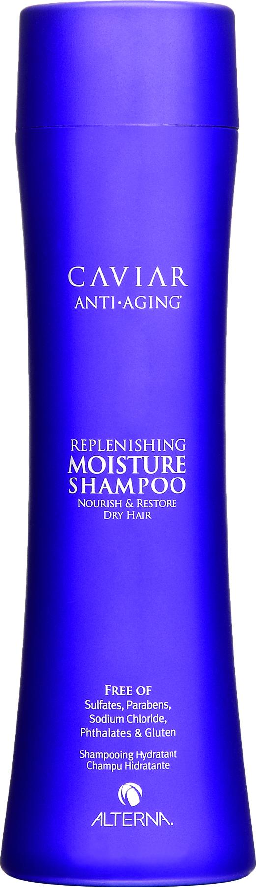 ALTERNA Шампунь увлажняющий с морским шелком / CAVIAR 250млШампуни<br>Активный шампунь на основе запатентованной формулы Caviar anti-aging seasilk способствует мягкому очищению и насыщению волос влагой. Улучшает метаболические процессы эпидермиса, питает, увлажняет волосяные фолликулы, повышая защитную функцию кожи головы. Возвращает волосам насыщенный блеск, защищает и сохраняет стойкость цвета. При этом регулирует и поддерживает оптимальный уровень влаги. Активные ингредиенты: энзимотерапевтический комплекс, Age-Control Complex  комплекс против старения волос, комплекс фиксации цвета, Seasilk/ Морской шелк, активные питательные вещества (коктейль из экстракта черной икры, морских водорослей, антиоксидантов, микро- и макроэлементов). Способ применения: нанесите Увлажняющий шампунь с морским шелком на влажные волосы, вспеньте. Выдержите пену на волосах 35 минут. Тщательно смойте водой, при необходимости повторите. Для лучшего результата используйте Увлажняющий кондиционер с морским шелком.<br><br>Вид средства для волос: Увлажняющий<br>Типы волос: Возрастные