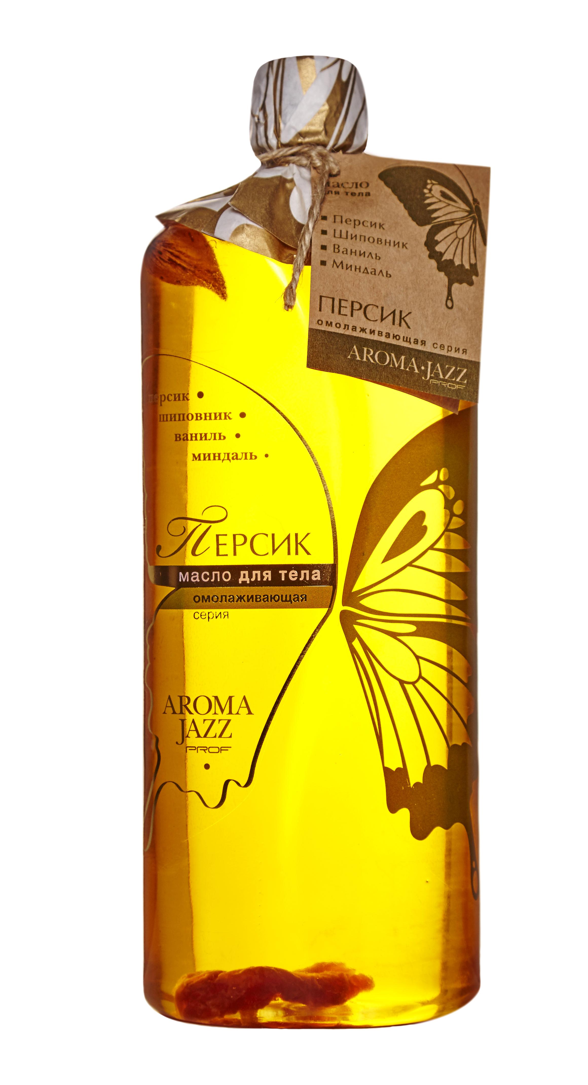 AROMA JAZZ Масло массажное жидкое для тела Персик 1000млМасла<br>Способствует регенерации сухой и чувствительной кожи, делает ее упругой и эластичной, смягчает, обладает противовоспалительным и заживляющим действием. Масло является эффективным средством в борьбе с целлюлитом, быстро впитывается и подходит для ежедневного применения.  Персик  не вызывает раздражения или аллергических реакций, поэтому показан как взрослым, так и детям. Наконец-то, вы расслаблены и спокойны. Тело окутано нежным ароматом, мысли пусты, и лишь воображение рисует образ прекрасного сада. Это райский сад. Вдохните поглубже его воздух, отведайте плодов с его деревьев, наслаждайтесь, пока длится массаж  Активные ингредиенты: масла пальмы, кокоса, оливы, сои, персика, растительное с витамином Е; экстракты шиповника и персика; эфирные масла миндаля, персика, ванили, розы, ванили и розмарина. Способ применения: рекомендовано для проведения классического и баночного массажа, втирания после душа, горячих ванн и SPA-процедур в салоне и дома. Рекомендуется использовать одноразовое белье.<br><br>Объем: 1000<br>Вид средства для тела: Массажный<br>Назначение: Целлюлит