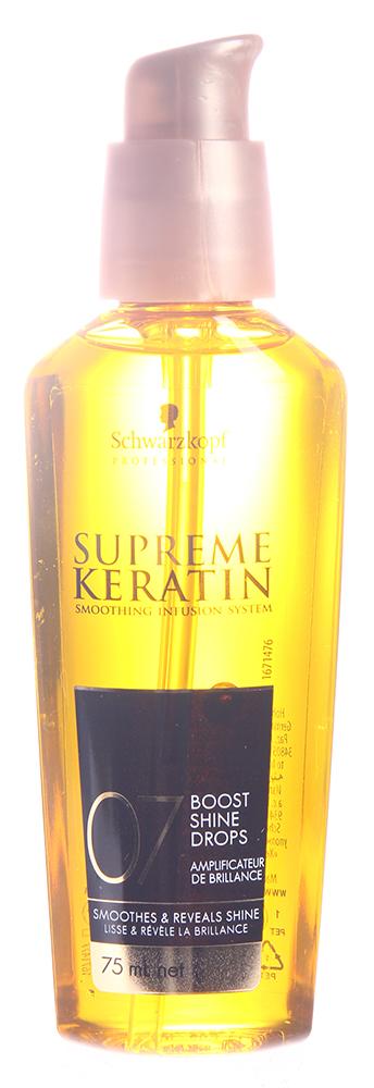 SCHWARZKOPF PROFESSIONAL Капли легкие с аргановым маслом для блеска 07 / SUPREME KERATIN 75млСыворотки<br>Легкие капли Supreme Keratin Boost Shine Drops, придающие блеск, с аргановым маслом усиливают блеск, эффект гладкости и снижают электризацию волос. Обеспечивают дополнительное питание волосам, делая их мягкими и шелковистыми. Используйте в качестве дополнения к циклу процедур (шаг 7 процедуры Supreme Keratin). Специально созданы для домашнего поддерживающего ухода после салонной процедуры кератинового выпрямления волос Supreme Keratin. Состав: Cyclomethicone, Trisiloxane, Dimethiconol, Helianthus Annuus (Sunflower) Seed Oil, Argania Spinosa Kernel Oil, Parfum (Fragrance), Benzyl Alcohol, Bytylphenyl Methylpropional, Geraniol, Hexyl Cinnamal, Citronellol, Limonene, Benzyl Salicylate, Linalool, Alpha-Isomethyllonone, Citral, CI 40800 (Beta-Carotene). Способ применения: нанесите на влажные или сухие волосы. Высушите и уложите. Не смывать!<br><br>Вид средства для волос: Разглаживающий<br>Назначение: Секущиеся кончики