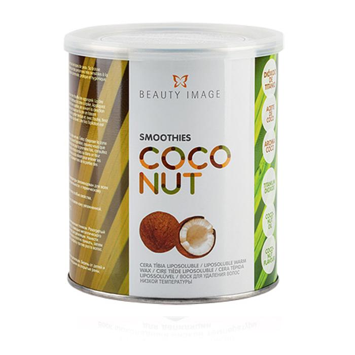 BEAUTY IMAGE Баночка с воском Кокосовый 800грВоски<br>Воск средней плотности с великолепными пластичными свойствами и нежным ароматом кокоса прекрасно удаляет волосы любого типа. Подходит для сухой, обезвоженной и потерявшей тонус кожи. Кокосовое масло питает, смягчает, увлажняет и омолаживает кожу, придает ей гладкость. Защищает кожу во время процедуры, поддерживает оптимальный баланс влажности, обладает противовоспалительным и успокаивающим действием. Активные ингредиенты: масло кокоса. Способ применения: нанесите разогретый до 37-39С воск на кожу по направлению роста волос. При помощи специальной салфетки резким движением против роста волос удалите воск с поверхности кожи.<br>