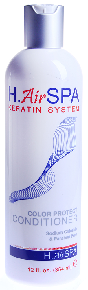 H AIRSPA Кондиционер кератиновый для окрашенных волос / Color Protect Conditioner 355млКондиционеры<br>Нежно питает, увлажняет окрашенные волосы, делая их мягкими и шелковистыми. Облегчает расчесывание. Подходит для ежедневного применения и любого типа волос.Активные ингредиенты: натуральный кератин.Способ применения: распределите небольшое количество увлажняющего Кондиционера по длине, вымытых Шампунем волос. Оставьте для воздействия на 1мин. и смойте.<br><br>Вид средства для волос: Увлажняющий<br>Типы волос: Окрашенные<br>Назначение: Секущиеся кончики