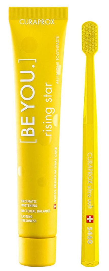 CURAPROX Набор желтый (паста зубная Восходящая звезда, грейпфрут-бергамот, 90 мл, + щетка зубная ультрамягкая CS5460) Be You Yellow set