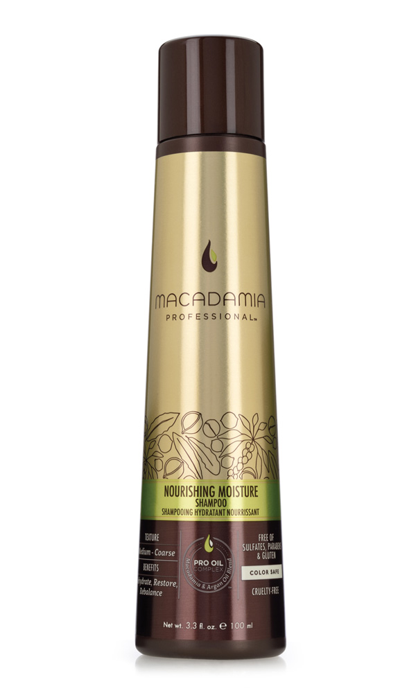 MACADAMIA PROFESSIONAL Шампунь питательный для всех типов волос / Nourishing Moisture shampoo 100млШампуни<br>Шампунь Macadamia Professional обеспечивает сбалансированное питание, восстанавливает баланс влажности нормальных и сухих волос. Эксклюзивный комплекс PRO OIL COMPLEX с маслами макадамии и арганы дает увлажнение, укрепление и восстановление волос. Масла авокадо, лесного ореха и витамины А, С, Е обеспечивают антивозрастной уход. Применение шампуня защищает волосы от воздействия неблагоприятных факторов окружающей среды. Преимущества: Увлажнение, восстановление Укрепление Антивозрастной уход Сохранение цвета окрашенных волос Без сульфатов, парабенов и глютена Активные ингредиенты: Масло макадамии, Омега 7, 5 и 3 жирные кислоты обеспечивают увлажнение Масло арганы, Омега 9 жирные кислоты восстанавливают и укрепляют Масло авокадо, лесного и грецкого ореха питают волосы и кожу головы Состав: Вода, У14-16 Олефин сульфонат натрия, Кокамидопропил Бетаин, Кокамид МоноЭтанолАмин, Изетионат натрия, Гликоль стеарат, отдушка,Масло макадамии, Аргановое масло, Масло Авокадо, Масло грецкого ореха, Гель Алоэ вера, Глицерин, Пантенол, Растворимый коллаген,Фосфолипиды, Ацетат Витамина Е, Ретинил пальмитат (витамин А), Аскорбил пальмитат, Натрия глицинат кокоил, Диоксид титана, Мика, Гуар гидроксипропилтримониум хлорид, Дисодиум ЕДТА, ППГ-2 гидроксиетил коко/изостеарамид, Дисодиум ЕДТА, Кополимер гидролизованного белка пшеницы, Феноксиэтанол, метилизотиазолинон, Лимонная кислота, Кватерниум-95, Пропандиол, Бензил Салицилат, Бутилфенил Метилпропионал, Гексил Циннамал, Линалоол. Способ применения: нанесите небольшое количество шампуня на влажные волосы, распределите массажными движениями. Смойте. При необходимости, повторите.<br><br>Вид средства для волос: Питательный<br>Типы волос: Для всех типов