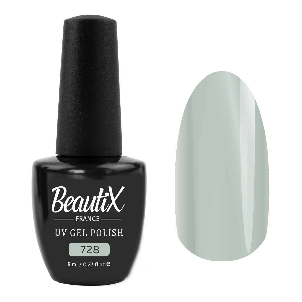 BEAUTIX 728 гель-лак для ногтей / LA SENSATION 8 мл, Серые  - Купить