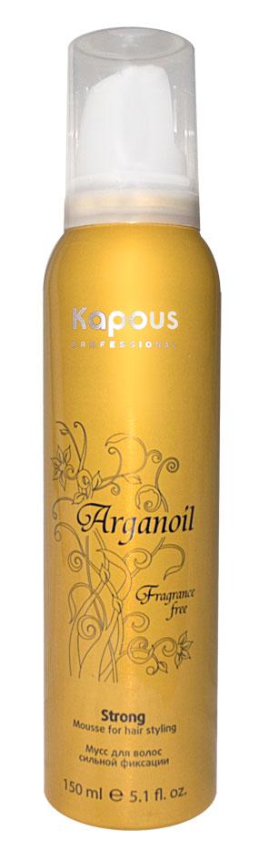 KAPOUS Мусс для укладки волос сильной фиксации с маслом арганы / Arganoil 150млМуссы<br>Мусс для волос сильной фиксации предназначен для всех типов волос. Фиксируя объем, делает любую прическу естественной, обеспечивает длительный результат. Масло Арганы придает волосам естественный блеск, предотвращает иссушение, защищает волосы от воздействия горячего фена и солнечных лучей. Способ применения: перед использованием баллон хорошо встряхнуть в течении 10-15 секунд! Направив баллон вниз, выдавить необходимое количество мусса и равномерно распределить по волосам. Высушить привычным способом.<br>