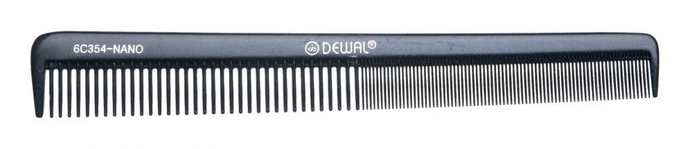DEWAL PROFESSIONAL Расческа рабочая Nano комбинированная, узкая, антистатик (черная) 17,5 см