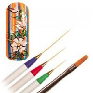 CND Кисть для дизайна Vrush-Pen 4штНаборы <br>Набор кистей Vrush-Pen включает все три кисти с тоненькими волосками - синюю, красную и зеленую и еще одну кисть потолще. С таким набором вы без труда изобразите на ногтях четкие тонкие линии. Кисти синтетические, имеют удобную ручку, выполнены из качественных материалов, благодаря чему прослужат вам долго.<br>