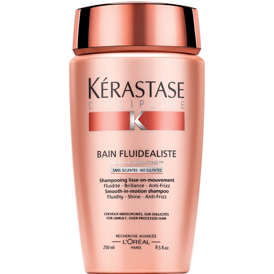 KERASTASE Шампунь для гладкости и лёгкости волос в движении/ Флюидеалист без сульфатов 250млШампуни<br>Шампунь без сульфатов для гладкости и лёгкости волос в движении. Струящиеся волосы   Блеск   Защита против воздействия влажности и образования завитков. Благодаря нежной текстуре, перламутрового цвета, шампунь-ванна Fluidealiste без сульфатов деликатно очищает даже самые поврежденные и постоянно окрашиваемые волосы. Результат: Ваши волосы очищены, эластичны, лёгкие и расчесываются без спутывания. Полимер, создающий эффект второй кожи, разглаживает поверхность каждого волоса. Формула без сульфатов подходит всем типам волос, даже самым поврежденным. Активные ингредиенты: уникальное сочетание активных веществ - комплекс Morpho-Keratine : 3 амино-кислоты для восстановления поврежденных зон каждого волоса: Глютаминовая кислота, Аргинин и Серин. Производная протеина пшеницы для придания эластичности и усиления косметического результата на волосах. Керамид R для заполнения волокна волоса и гладкости его внешней части.&amp;nbsp; Ксилоза - термо-активный компонент, защищающий волосы от теплового воздействия фена и стайлеров. Способ применения: наносить небольшое количество на влажные волосы. Деликатными массирующими движениями распределить по волосам. Для того, чтобы смыть средство, сначала необходимо добавить немного воды по длине волос, а затем уже приступить к полному смыванию шампунь-ванны.<br><br>Вид средства для волос: Разглаживающий<br>Класс косметики: Косметическая