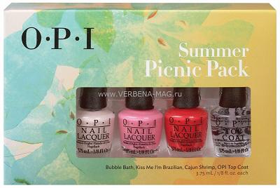 OPI Мини лаки набор Summer Picnic PackЛаки<br>Набор мини-лаков для ногтей OPI Summer Picnic Pack - это миниатюры популярных цветов лаков, среди которых такие оттенки как:&amp;nbsp; Bubble Bath (NLS86),&amp;nbsp; Kiss Me I m Brazilian (NLA68) &amp;nbsp; Cajun Shrimp (NLL64), по 3,75 мл каждый,&amp;nbsp; Верхнее покрытие OPI Top Coat (NTT30).&amp;nbsp; Каждый лак из набор косметикиа Summer Picnic Pack снабжен кистью ProWide  для идеального нанесения.&amp;nbsp;<br><br>Виды лака: Глянцевые
