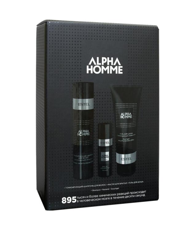 ESTEL PROFESSIONAL Набор для мужчин ALPHA HOMME 895 (тонизирующий шампунь для волос, масло для бритья, гель для душа) -  Наборы