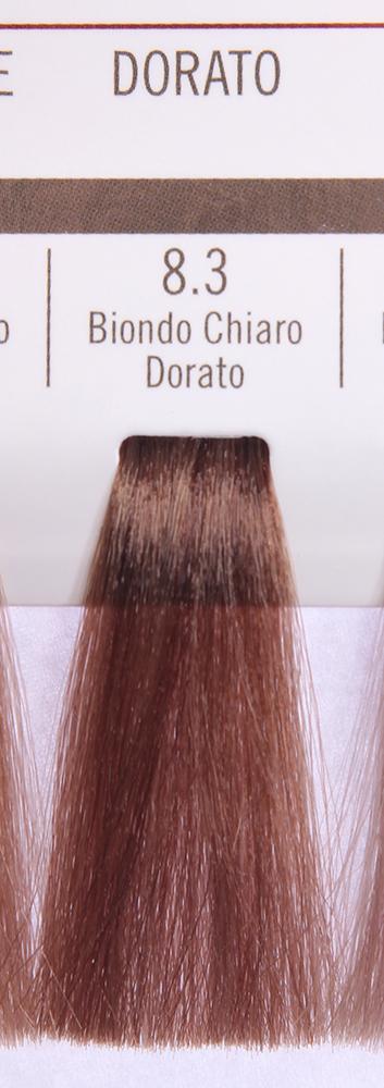 BAREX 8.3 краска для волос / PERMESSE 100млКраски<br>Оттенок: Светлый блондин золотистый. Профессиональная крем-краска Permesse отличается низким содержанием аммиака - от 1 до 1,5%. Обеспечивает блестящий и натуральный косметический цвет, 100% покрытие седых волос, идеальное осветление, стойкость и насыщенность цвета до следующего окрашивания. Комплекс сертифицированных органических пептидов M4, входящих в состав, действует с момента нанесения, увлажняя волосы, придавая им прочность и защиту. Пептиды избирательно оседают в самых поврежденных участках волоса, восстанавливая и защищая их. Масло карите оказывает смягчающее и успокаивающее действие. Комплекс пептидов и масло карите стимулируют проникновение пигментов вглубь структуры волоса, придавая им здоровый вид, блеск и долговечность косметическому цвету. Активные ингредиенты:&amp;nbsp;Сертифицированные органические пептиды М4 - пептиды овса, бразильского ореха, сои и пшеницы, объединенные в полифункциональный комплекс, придающий прочность окрашенным волосам, увлажняющий и защищающий их. Сертифицированное органическое масло карите (масло ши) - богато жирными кислотами, экстрагируется из ореха африканского дерева карите. Оказывает смягчающий и целебный эффект на кожу и волосы, широко применяется в косметической индустрии. Масло карите защищает волосы от неблагоприятного воздействия внешней среды, интенсивно увлажняет кожу и волосы, т.к. обладает высокой степенью абсорбции, не забивает поры. Способ применения:&amp;nbsp;Крем-краска готовится в смеси с Молочком-оксигентом Permesse 10/20/30/40 объемов в соотношении 1:1 (например, 50 мл крем-краски + 50 мл молочка-оксигента). Молочко-оксигент работает в сочетании с крем-краской и гарантирует идеальное проявление краски. Тюбик крем-краски Permesse содержит 100 мл продукта, количество, достаточное для 2 полных нанесений. Всегда надевайте подходящие специальные перчатки перед подготовкой и нанесением краски. Подготавливайте смесь крем-краски и молочка-оксигента Permesse в н
