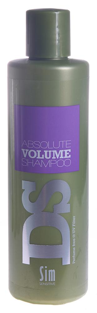 SIM SENSITIVE Шампунь для объема волос Абсолют Волюмe / Absolute Volume Shampoo DS 250млШампуни<br>Шампунь &amp;laquo;Абсолют Волюм&amp;raquo; входит в состав комплекса  Абсолют Волюм  DS by Sim Sensitive. Шампунь не только эффективно очищает кожу головы и волосы, но и поддерживает слабые и тонкие волосы, придавая им упругость и объем. В целях достижения эффекта, в шампунь включены необходимые для этого ингредиенты: гуар шелковый и глицерин. Также шампунь снабжен УФ-фильтром, защищающим волосы от ультрафиолета. Шампунь не содержит сульфаты, парабены и ароматизаторы. Способ применения: Нанесите на влажные волосы, вспеньте и смойте.<br><br>Типы волос: Для всех типов