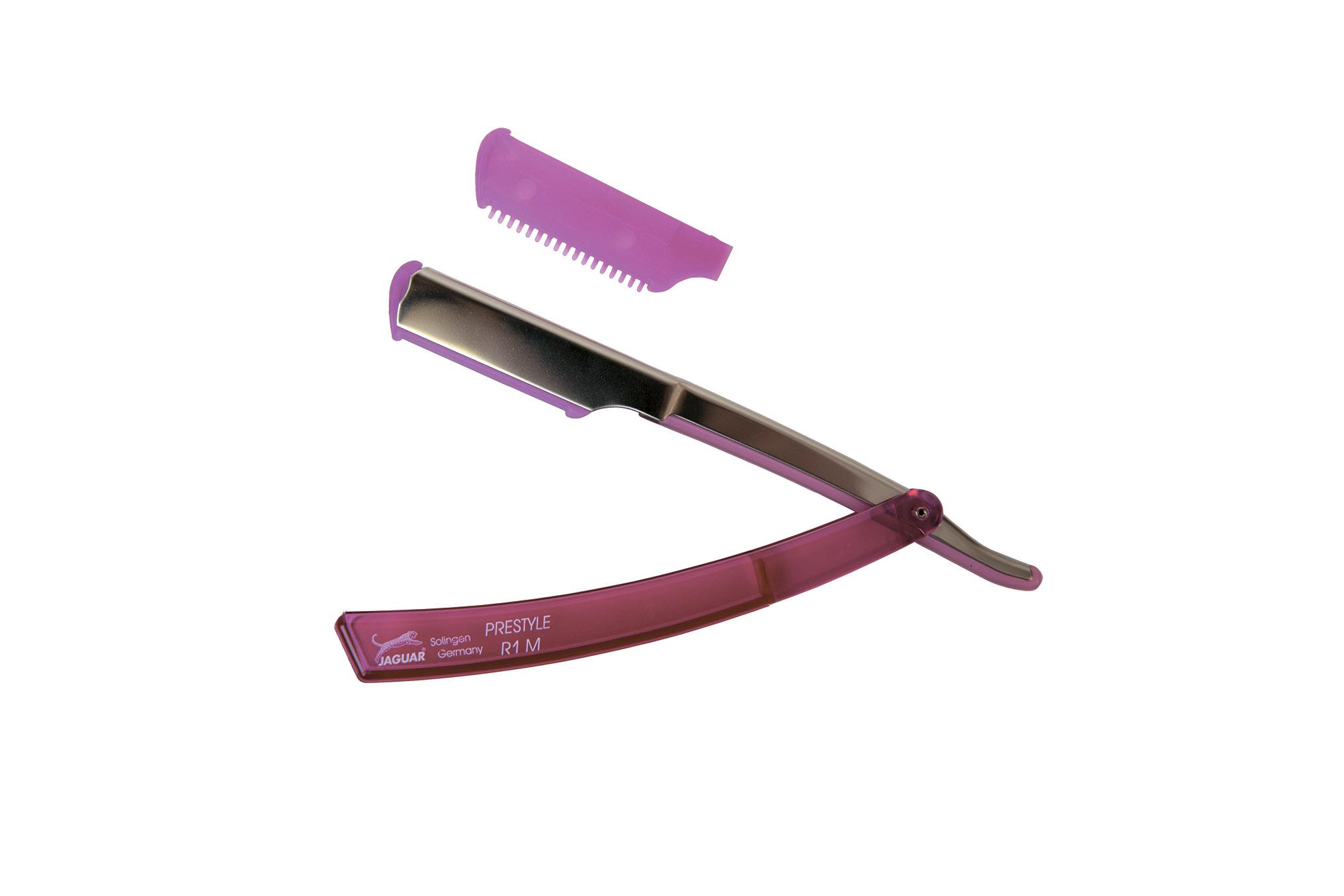 JAGUAR Бритва R1M Pink филировочная пластиковая розоваяБритвы<br>Используется для филировки и подбривания волос. Материал: изготовлена из пластика, металла.<br>