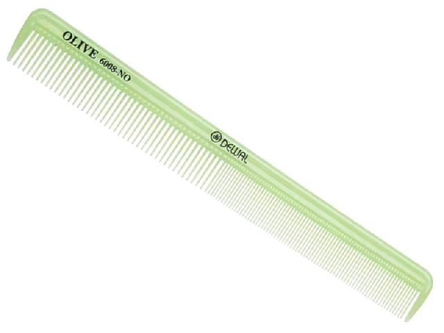 DEWAL PROFESSIONAL Расческа рабочая Olive комбинированная, узкая (зеленая) 21,5см