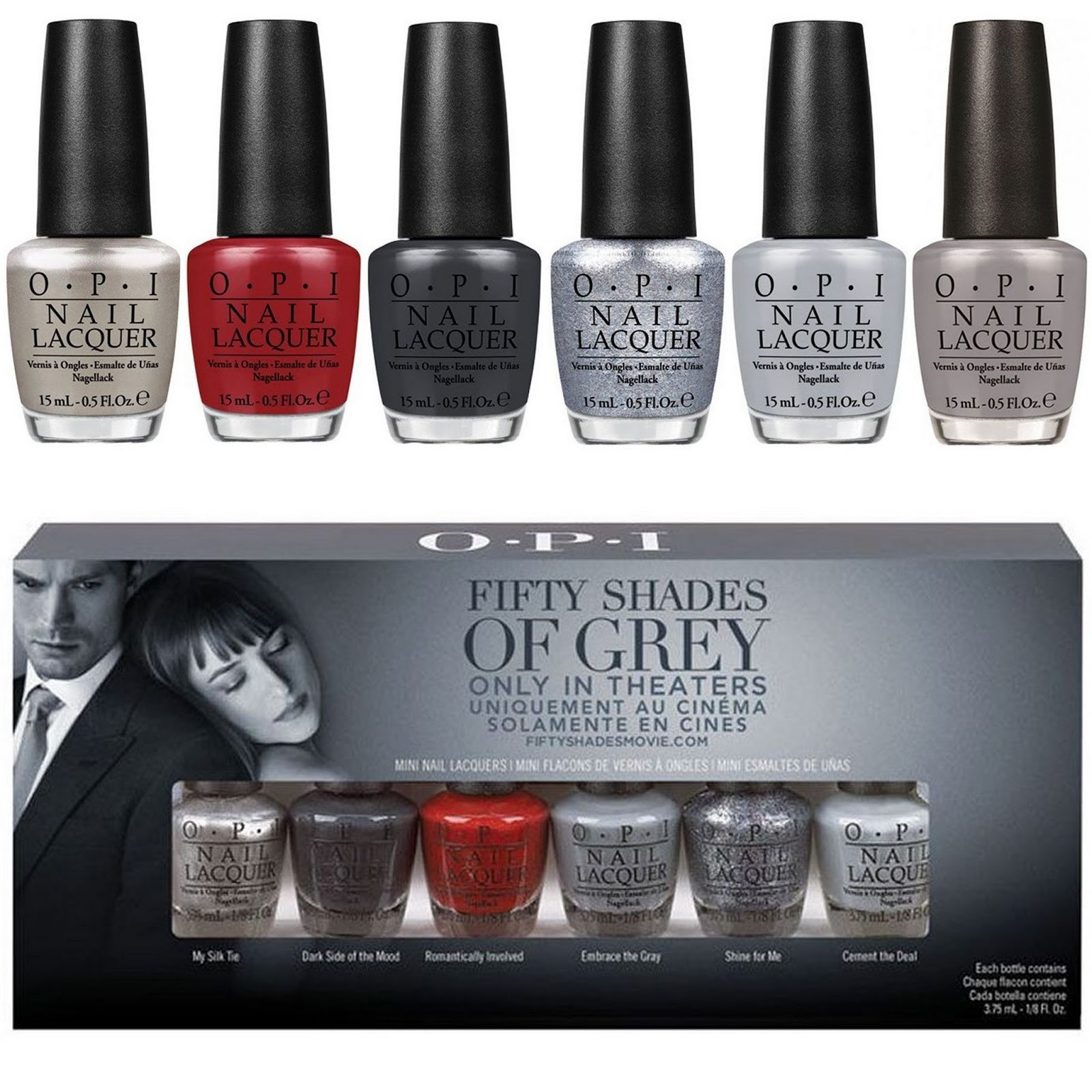 OPI Мини лаки Fifty Shades of Grey by OPI - (NLF74/75/76/77/78/79) - 6*3,75мл~