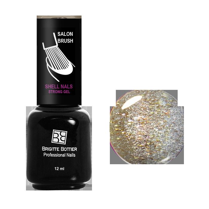BRIGITTE BOTTIER 989 гель-лак для ногтей, серый с золотыми мелкими блестками / Shell Nails 12 мл