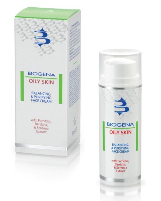 BIOGENA Крем матирующий для жирной кожи / BIOGENA OILY SKIN 50млКремы<br>Увлажняющий и очищающий кожу крем легкой текстуры. Идеально впитывается. Устраняет воспаления и предотвращает появление повторных высыпаний. С помощью фарнезола и экстрактов серенои и репейника убирает избыточный блеск жирной кожи, сужает расширенные поры. Результат: матовая кожа без воспалений . Активные ингредиенты: фарнезол и экстракты серенои и репейника. Способ применения: нанести на предварительно очищенную кожу лица, шеи и декольте.<br><br>Объем: 50 мл