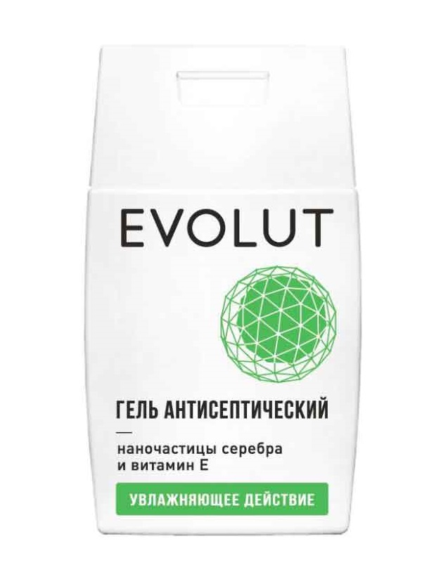 Купить EVOLUT Гель антисептический для рук с наночастицами серебра и витамином E, плоский флакон 50 мл