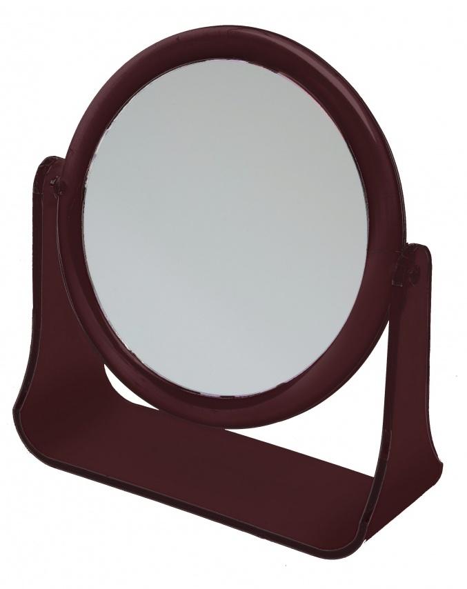 DEWAL BEAUTY Зеркало настольное, в оправе янтарного цвета, на пластиковой подставке 178x160х10 мм