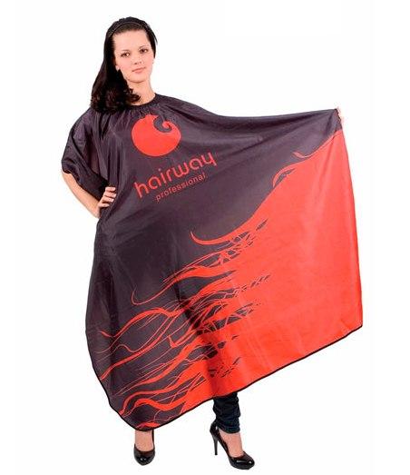 HAIRWAY Пеньюар Hairway черно-красный 136х160см-Пеньюары<br>Пеньюар нейлоновый, водонепроницаемый Hairway Black&amp;amp;Red, черно-красный. Размер: 136х160 см.<br>