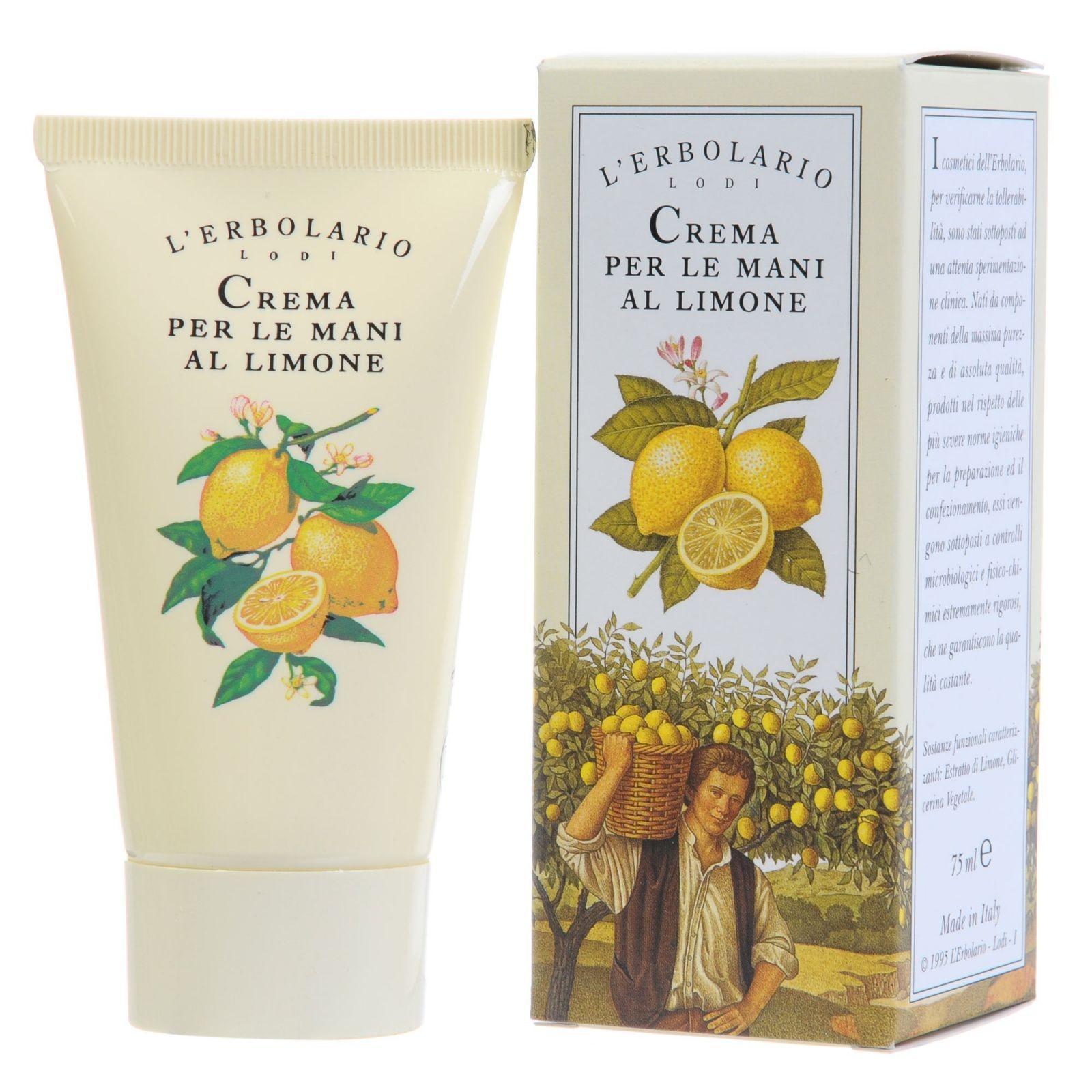 LERBOLARIO Крем для рук лимонный 75 млКремы<br>Прекрасный крем для сохранения красоты кожи рук. Он мгновенно впитывается, образует на коже невидимую пленку, которая защищает от агрессивных внешних воздействий: холода, ветра, воды, моющих средств. Благодаря этому крему кожа рук быстро становится более гладкой, мягкой и молодой. Активные ингредиенты: экстракт лимона, растительный глицерин. Способ применения: небольшое количество крема наносите на кожу рук несколько раз в день. Рекомендуется применять крем каждый раз перед началом домашней работы и после мытья рук.<br>