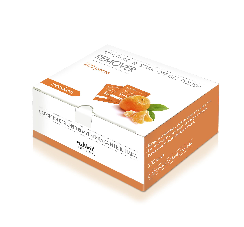 RuNail Салфетки для снятия мультилака и гель-лака (мандарин) 200 штСалфетки<br>Салфетки быстро и эффективно удаляют мультилак и гель-лак. Не пересушивают ногтевую пластину и кутикулу. Идеально подходят для путешествий. Обладают приятным цитрусовым запахом. Активные ингредиенты: ацетон, отдушки.<br>