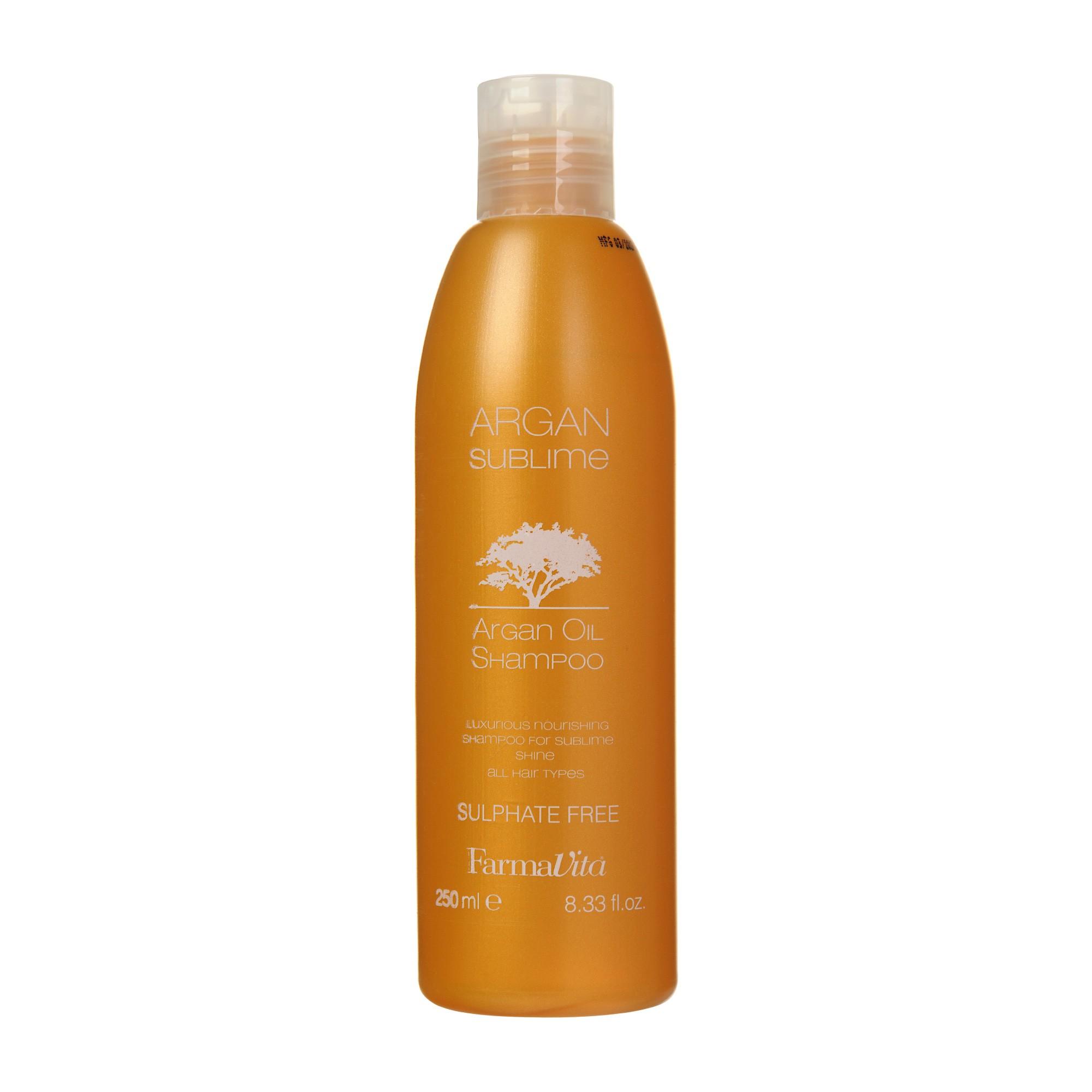 FARMAVITA Шампунь с аргановым маслом / ARGAN Sublime 250 млШампуни<br>Питательный шампунь, содержащий уникальное аргановое масло. Обладает нежным, экзотическим ароматом, делает волосы здоровыми, шелковистыми и придет им соблазнительность. Идеально подходит для всех типов волос. Способ применения: щедро нанести на влажные волосы, сэмульгировать массирующими движениями и тщательно промыть. Чувство восторга и наслаждения вызовет использование шампуня совместно с Argan Sublime Mask и Argan Sublime Elixir Активные ингредиенты:&amp;nbsp;содержит поверхностно-активные вещества, полученные из сырья растительного происхождения. Обогащен Аргановым маслом. Не содержит сульфаты, фосфаты, алкоголь, силиконов, аллергенов.<br><br>Объем: 250 мл<br>Вид средства для волос: Питательный<br>Типы волос: Для всех типов