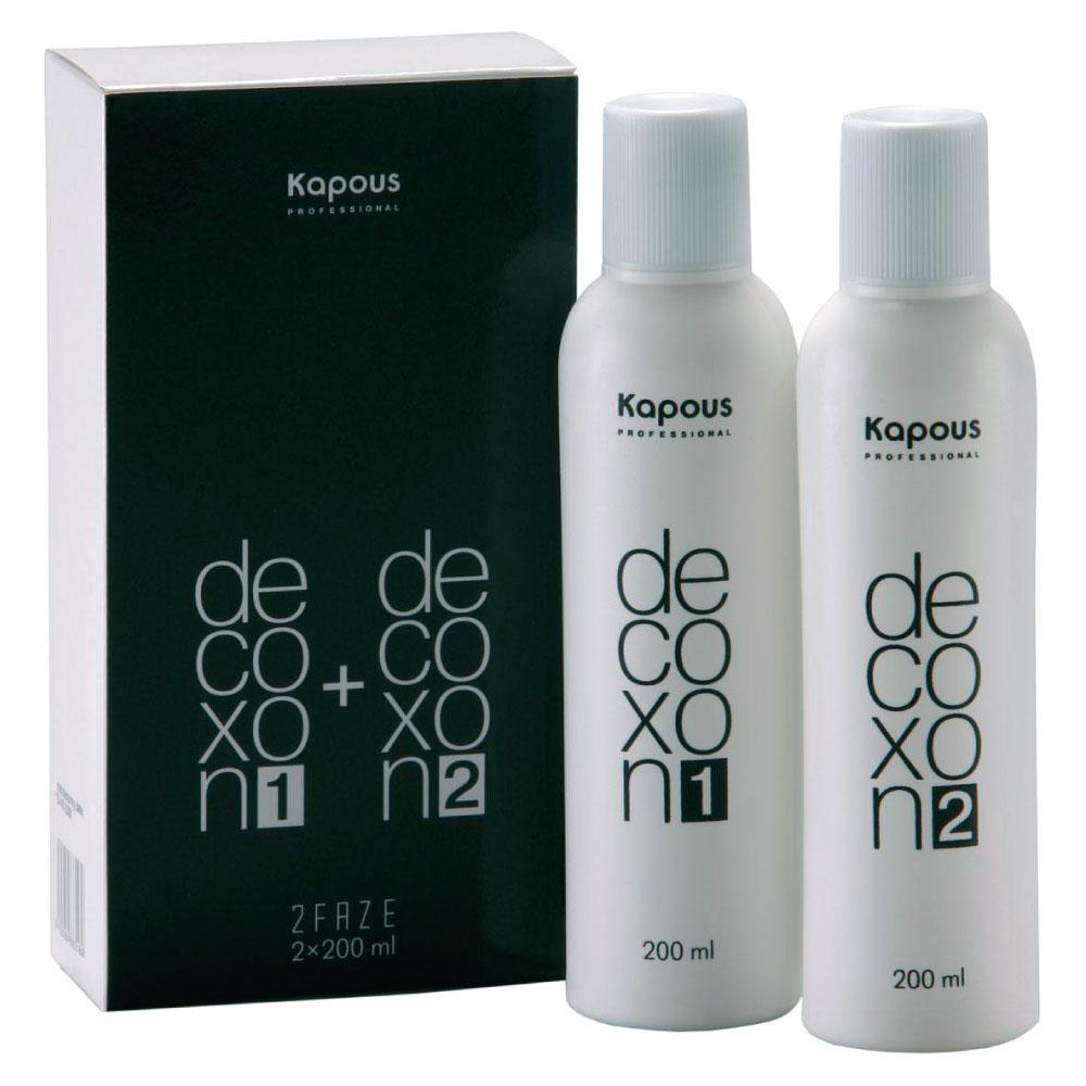 KAPOUS Средство для удаления краски с волос / Decoxon 2 Faze 200+200млОсобые средства<br>Специальное косметическое средство для коррекции нежелательного оттенка волос, состоящее из двух фаз. Позволяет гораздо бережнее растворять и выводить искусственный пигмент, при этом, совершенно не нанося повреждения волосам, и не осветляя их. Препарат применяется для частичной или полной коррекции цвета, деликатно удаляя косметический оттенок волос, и не затрагивая их натуральный пигмент. Применяя косметическое средство на очень темных (окрашенных) волосах результат будет зависеть от количества предыдущих окрашиваний, а также от нынешнего состояния волос. Чтобы получить оптимальный результат, специалисты рекомендуют наносить KAPOUS DECOXON сразу же после окрашивания в нежелательный оттенок, не позднее, чем через 24 часа. Если же разовой процедуры коррекции цвета будет недостаточно, можно повторить ее вплоть до четырех раз в день. Не забывайте перемешивать обе фазы всегда в равных частях, и никогда не заменяйте средство каким-либо другим препаратом. Мягкая формула не изменяет и не повреждает естественную структуру волос. DECOXON 2 FAZE растворяет искусственный пигмент, не воздействуя на натуральный. Продукт бережно относится к структуре волос, придавая им блеск и оставляя их мягкими и шелковистыми. Способ применения: применяйте согласно инструкции. Перед началом использования средства его следует тщательно взболтать. Перемешайте препарат в пропорции 1:1 в неметаллической мисочке   получившуюся смесь, перемешайте до получения однородной массы. Нанесите средство на сухие, можно даже не вымытые волосы. Подержите смесь на волосах в течение 20 минут, применяя тепло.<br><br>Цвет: Корректоры и другие<br>Класс косметики: Косметическая