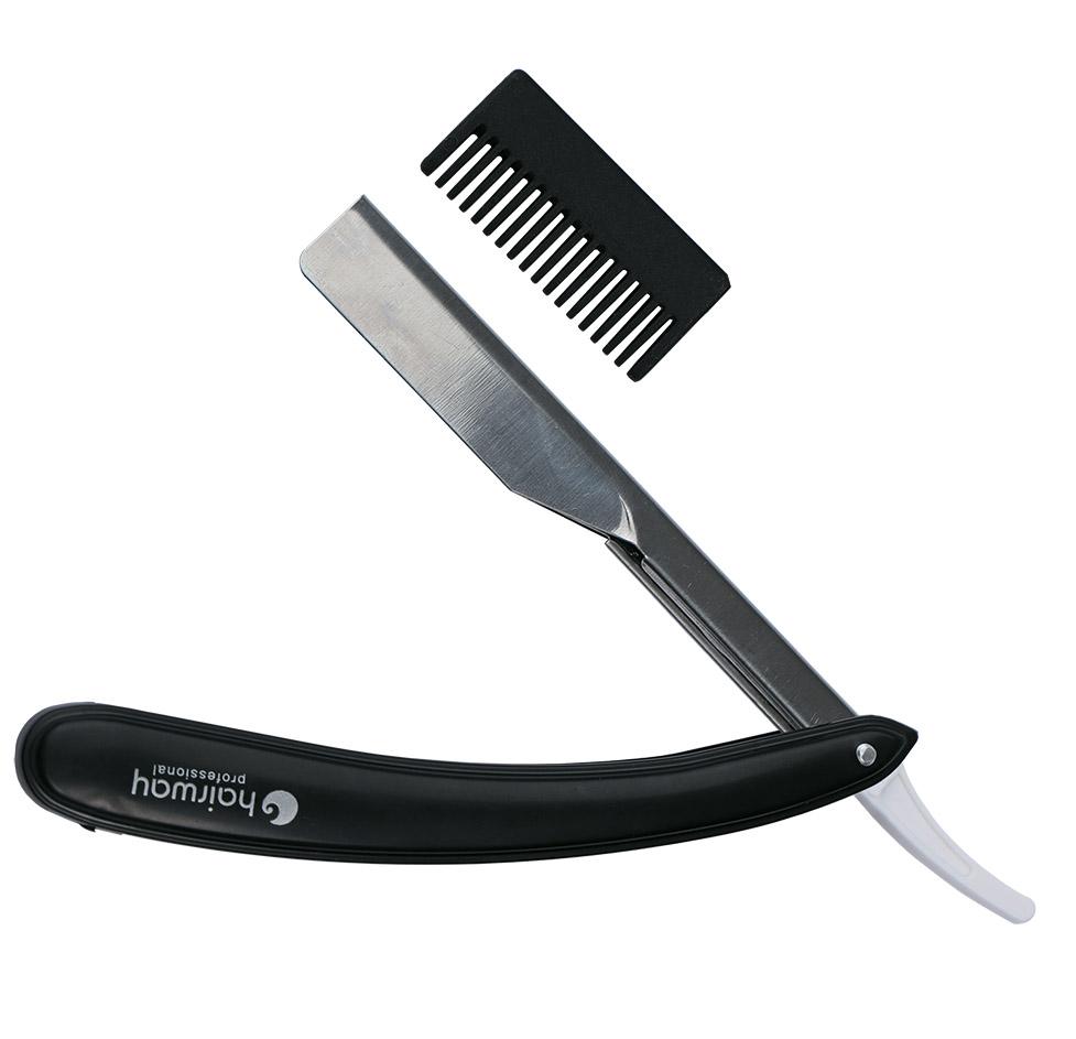 HAIRWAY Бритва Hairway безопасная с насадкой для филировки черная - Бритвы