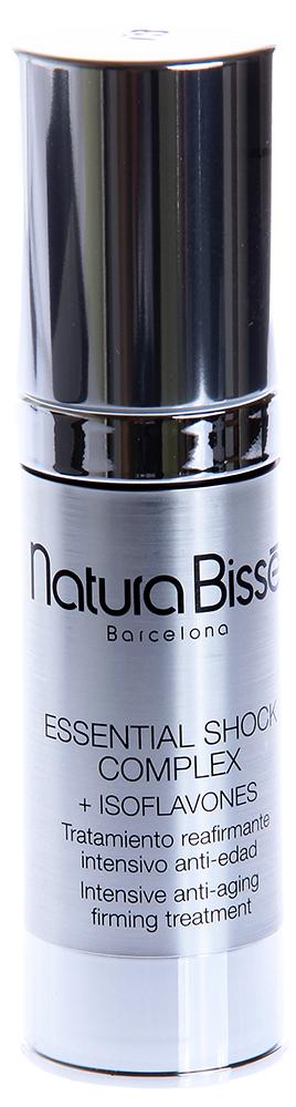 NATURA BISSE Комплекс с изофлавонами для зрелой кожи / Complex + Isoflavones ESSENTIAL SHOCK 30млКремы<br>Essential Shock Complex   высокоэффективное средство для восстановления тургора зрелой кожи. Высокие концентрации гидролизованных до аминокислот белков коллагена и эластина, а также протеины сои, проникая в глубокие слои кожи, возвращают ей упругость, эластичность и мягкость. Essential Shock Complex существенно разглаживает кожу, уменьшает глубину морщин, обновляет и ревитализирует кожу, позволяя достигать видимых результатов уже после первого применения. Активные ингредиенты: высокие концентрации гидролизованных до аминокислот белков коллагена и эластина, протеины сои. Способ применения: рекомендуется использовать ежедневно (утром и/или вечером). Наносить на предварительно очищенную кожу, cлегка массировать до полного впитывания. Затем наносить дневной/ночной крем, соответствующий типу кожи.<br><br>Объем: 30<br>Назначение: Морщины