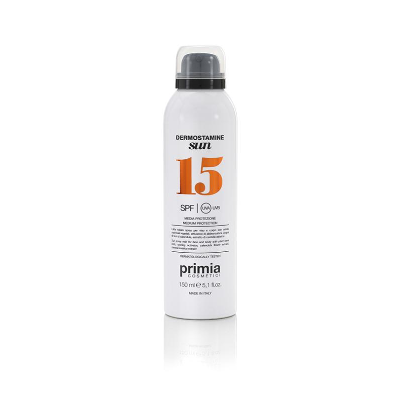 PRIMIA COSMETICI Молочко-спрей солнцезащитное для лица и тела SPF 15 / Dermostamine Sun 150 мл - Молочко