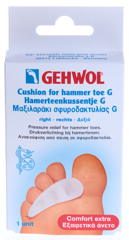 GEHWOL Гель-подушка под пальцы G, правая 1штОртопедические приспособления<br>Подушка отлично защищает ногу, разгружает стопу, уменьшает трение и давление, выпрямляет искривленные пальцы, уменьшает давление при пальцах молоткообразной формы, предотвращает натирание и образование мозолей. Гель-подушка под пальцы G Геволь из гель-полимера очень мягкая и эластичная. Используетс как защитное средство при ходьбе на высоком каблуке.  Приятная для кожи подушка надежно защищает среднюю часть стопы. Рекомендуется для разгрузки средней части стопы при ходьбе. Гель-подушка под пальцы G выпускается в двух вариантах: правая и левая. Каждая подушка для надежной фиксации на пальце оснащена широкой эластичной петлей. Способ применения: Вложить подушечку в обувь, которой вы пользуетесь.<br><br>Назначение: Мозоли<br>Консистенция: Мягкая