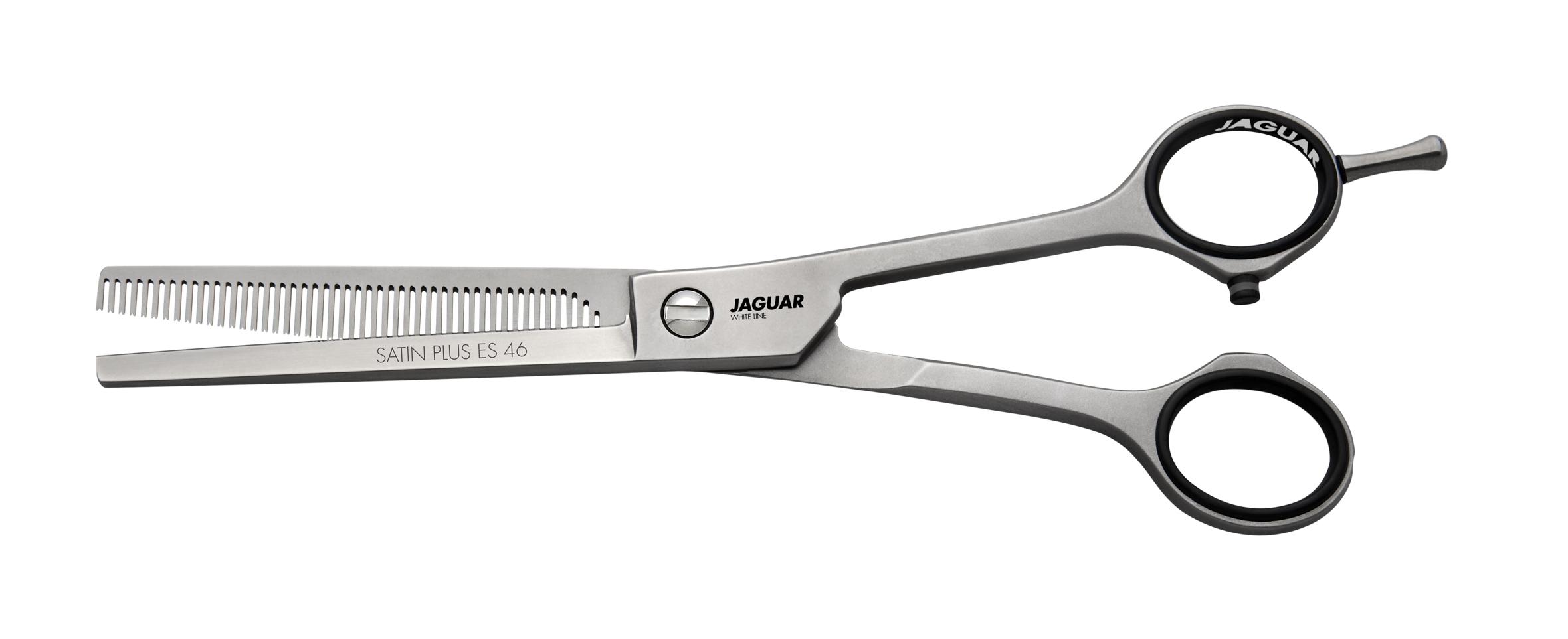 """JAGUAR Ножницы Jaguar Satin Plus ES 46 фил.6,5(16,5cm)WLНожницы <br>SATIN PLUS ES 46 6.5"""" = 16.5 cm Филировочные ножницы с 46 высокоточными зубцами призматической формы обеспечивают приятное чувство мягкости хода и точный срез волос. Классический дизайн обеспечивает традиционное ощущение при стрижке. Длинна полотен ножниц: 16.5 см.<br><br>Класс косметики: Профессиональная"""