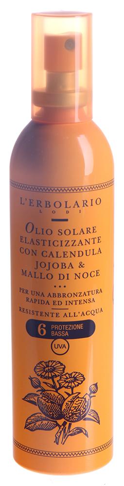 LERBOLARIO Масло для загара, придающее эластичность коже, с календулой, хохобой и чашечками грецкого ореха SPF6Масла<br>Масло для быстрого и сильного загара - поистине изумительное и максимально удобное в использовании средство, которое придаст коже эластичность. Средство создано для использования в тех случаях, когда не требуется высокий солнцезащитный фактор. Масло для загара, придающее коже эластичность SPF 6 от L`Erbolario обладает лёгкой структурой, так как создано с использованием новых технологий очистки. Благодаря этому масло удобно применять, так как оно легко впитывается, кроме того, оно не оставляет жирных следов, не делает тело скользким, не пачкает. Но самое главное, что благодаря лёгкой структуре после его применения на тело не липнет песок. Благодаря входящему в состав солнцезащитного средства экстракту зелёных чашечек грецкого ореха обеспечивается быстрый загар. Одновременно, экстракт календулы и масло хохобы обеспечивают хорошее увлажнение и питание кожи, что делает загар ещё более ярким и красивым. Масло для загара, придающее коже эластичность SPF 6 от L`Erbolario это средство, которое предназначено для получения быстрого и интенсивного загара в тех случаях, когда высокий солнцезащитный фактор не требуется. Например: для тех, кто уже немного загорел или для обладателей смуглой кожи, которая хорошо переносит солнечные лучи. Также в состав средства входит витамин Е, который также называют витамином молодости, и витамин В5, который смягчит и сделает вашу кожу более эластичной.  Активные ингредиенты: Масло из семян хохобы, жирорастворимый экстракт календулы, масляный экстракт зелёной чашечки грецкого ореха, провитамин В5, витамин Е ацетат.  Способ применения: Благодаря особому дозатору вы можете нанести масло для загара, придающее коже эластичность SPF 6 от L`Erbolario распыляя его на большие участки тела, а можете набрать его в ладонь, чтобы нанести на небольшие участки тела, такие как зона декольте или лицо (избегайте попадания в область глаз). Несмо