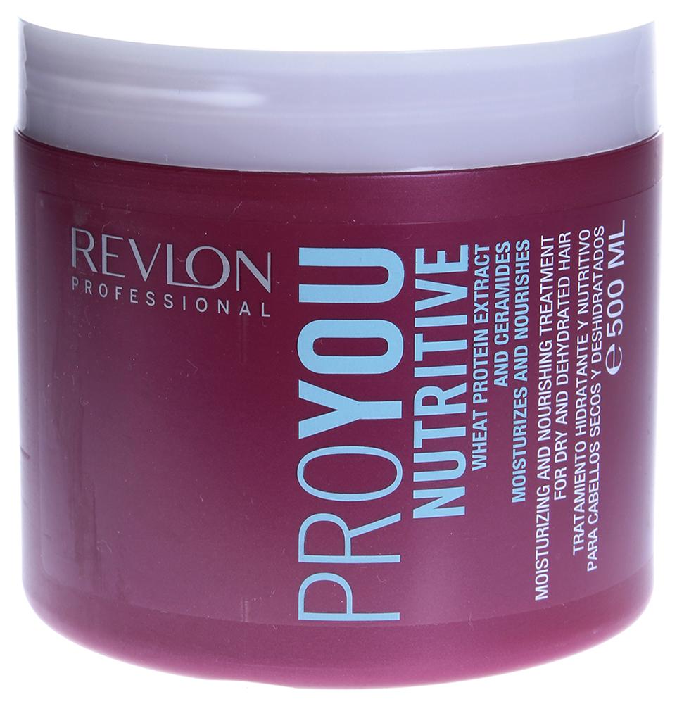 REVLON Маска увлажняющая и питательная / PROYOU NUTRITIVE 500млМаски<br>Маска увлажняющая Proyou Nutritive питает и способствует восстановлению поврежденных волос, нуждающихся в экстренном увлажнении. В состав маски входят экстракты пшеницы и керамиды, благоприятно воздействующие на фибру волос за счет своих восстанавливающих свойств. Регулярное применение маски способствует скорейшему восстановлению гидролипидного защитного слоя, и по мере применения маски структура волос и их внешний вид заметно улучшаются.  Активные ингредиенты: Экстракты пшеницы и керамиды.  Способ применения: Сначала вымойте голову шампунем Revlon, тщательно промойте и нанесите небольшое количество маски на волосы. Помассируйте медленными движениями и расчешите волосы. Подержите 3-5 минут и смойте питательное средство с волос. Рекомендуется использовать 2-3 раза в неделю.<br><br>Вид средства для волос: Питательный<br>Типы волос: Поврежденные