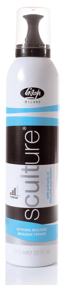 LISAP MILANO Мусс сильной фиксации для укладки волос / Strong Mousse SCULTURE 300млМуссы<br>Создает, поддерживает и контролирует прическу. Придает волосам объем и безупречный внешний вид, максимально повышает качество укладки. Подойдет как для создания объема, так и для натуральной укладки. Способ применения: распределить нужное количество на волосы, с помощью расчески равномерно распределить по всем волосам, затем высушить и укладывать.<br>