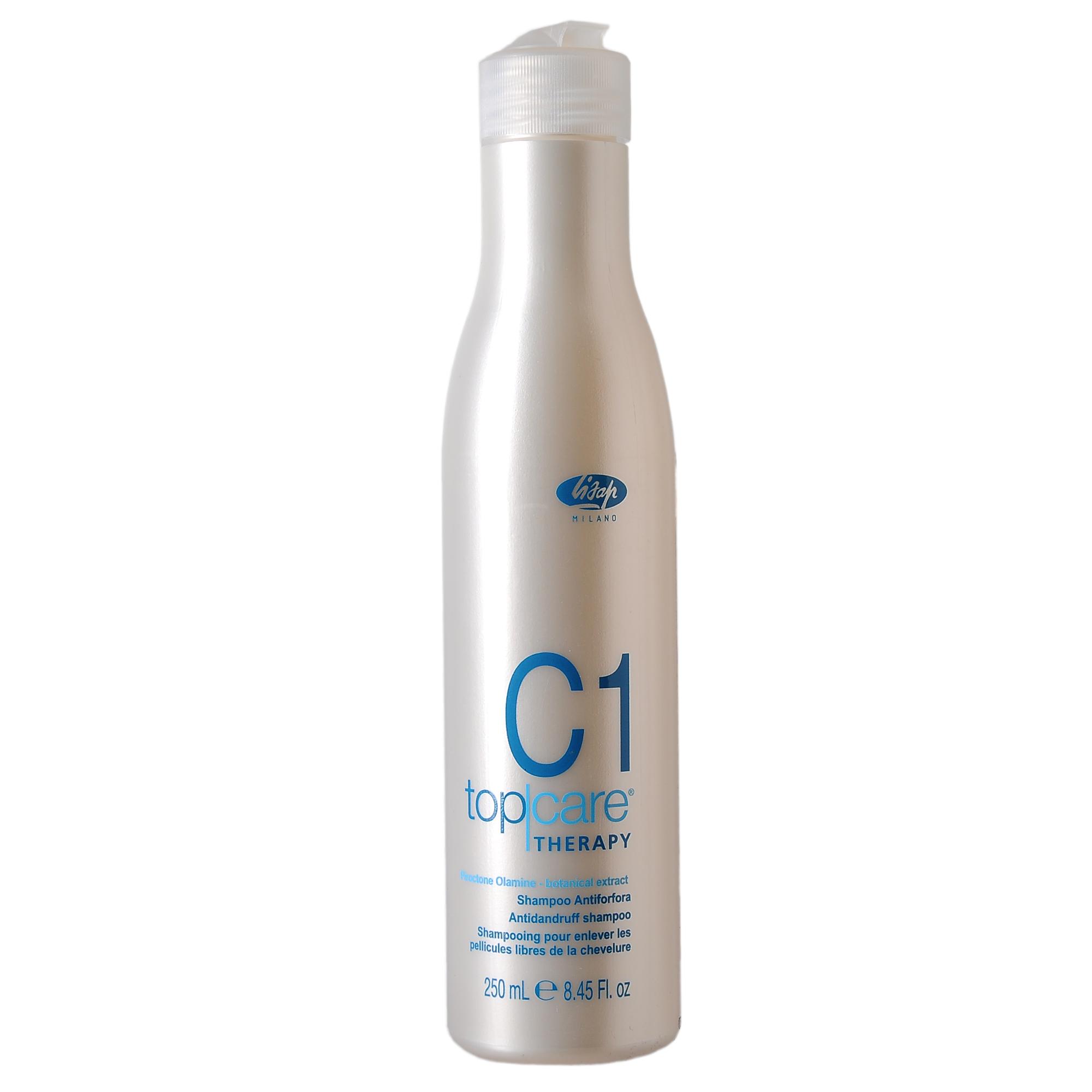 LISAP MILANO Шампунь очищающий против перхоти для волос / TOP CARE THERAPY 250млШампуни<br>Содержит активный компонент пироктон оламин, устраняя перхоть и предупреждая ее повторное появление, а также экстракт шалфея и экстракт розмарина, известные своим успокаивающим действием. Формула разработана специально для удаления перхоти с одновременным очищением и восстановлением естественной степени увлажненности волос и кожи головы. По своему составу шампунь очень мягкий и подходит для ежедневного применения. Активные ингредиенты: пироктон оламин, экстракт шалфея, экстракт розмарина. Способ применения: нанесите небольшое количество шампуня на влажные волосы и вспеньте. Хорошо промойте волосы водой. Повторить нанесение и оставить шампунь на волосах на 2 минуты перед окончательным ополаскиванием. Для получения наилучших результатов рекомендуется использовать в комплексе с очищающим тоником  Top Care Therapy T2 Purifying Tonic .<br><br>Вид средства для волос: Очищающий<br>Назначение: Перхоть