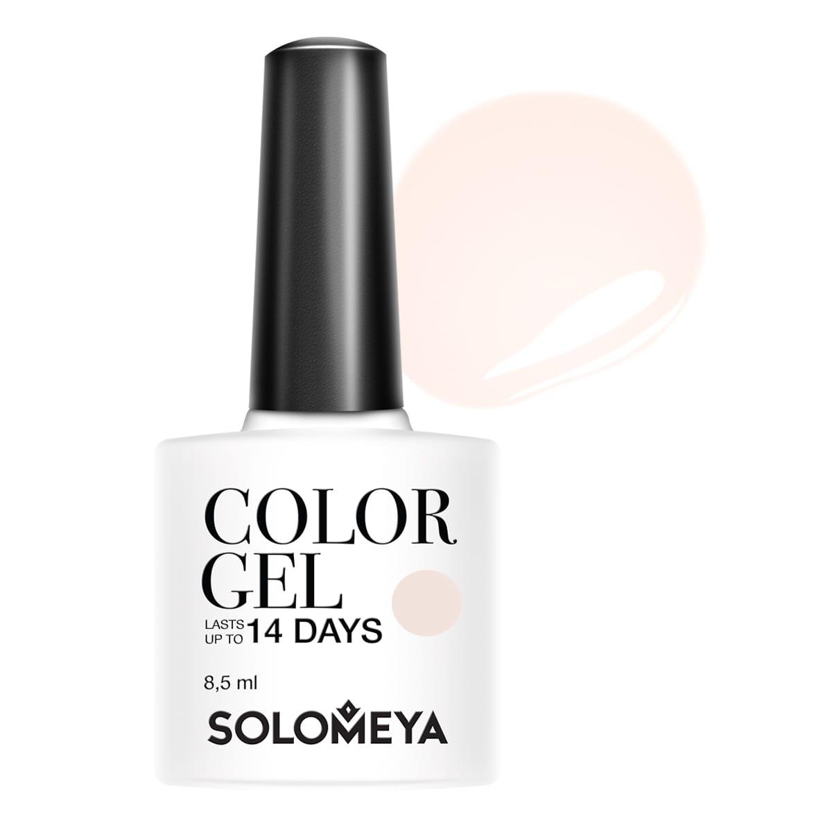 SOLOMEYA Гель-лак Solomeya Color Gel My tender SCGK007/Мой нежныйГель-лаки<br>Гель-лак Color Gel Solomeya подарит маникюру яркость, палитру из 100 оттенков и стойкость до 21 дня. Благодаря оптимальной консистенции он легко и равномерно наносится, не оставляя пузырьков и проплешин. В состав гель-лака входят качественные красители, обеспечивающие высокую пигментированность каждого оттенка. Не содержит толуол, растворители и отвердители. Способ применения: поверх базового геля нанесите 1 тонкий слой средства, запечатывая торцы ногтей, и просушите в UV-лампе (36 Вт) 1 минуту или в LED-лампе - 30 секунд. Затем нанесите второй слой цветного гель-лака, также запечатывая торцы ногтей, и просушите в UV-лампе (36 Вт) 1 минуту или в LED-лампе - 30 секунд.<br><br>Цвет: Белые<br>Виды лака: Глянцевые