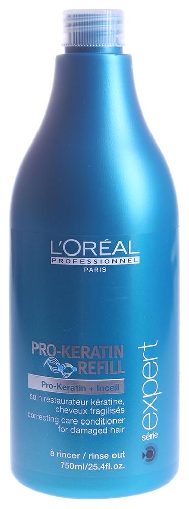 LOREAL PROFESSIONNEL Уход смываемый для поврежденных волос / ПРО-КЕРАТИН РЕФИЛ 750млКондиционеры<br>Помогает улучшить состояние поврежденных волос. Защищает и оздоравливает волосы, благодаря составу, обогащенному Pro-кератином. Защита от внешних факторов.  Способ применения: После использования шампуня подсушите волосы полотенцем. Аккуратно вотрите кондиционер от корней до кончиков волос. Оставьте на 2-3 минуты. Тщательно смойте. В случае попадания в глаза, незамедлительно промойте их большим количеством воды.<br><br>Типы волос: Поврежденные