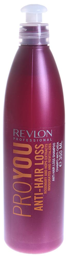 REVLON Шампунь против выпадения волос / PROYOU ANTI-HAIR LOSS 350млШампуни<br>Шампунь Proyou Anti-Hair Loss обогащен новой усовершенствованной витаминной формулой и эффективно справляется с проблемой выпадения волос. Средство от компании Revlon мягко очищает кожу головы, сохраняя при этом природный баланс кожи, что способствует здоровому и сильному росту волос. Инновационная формула шампуня содержит активные вещества, способствующие укреплению волосяных луковиц и усилению роста волос, активизируя кровообращение и регулируя обменные процессы. Средство содержит экстракт розмарина, который стимулирует рост волос, и экстракт хмеля, который эффективен в борьбе против выпадения волос.  Активные ингредиенты: Экстракт розмарина, экстракт хмеля.  Способ применения: Нанесите небольшое количество шампуня на увлажненные теплой водой волосы. Помассируйте несколько минут, а затем смойте. После использования шампуня рекомендуется воспользоваться одной из питательных масок Revlon.<br><br>Назначение: Выпадение