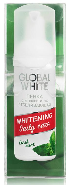 GLOBAL WHITE Пенка отбеливающая для зубов, свежая мята / Whitening daily care 50 мл