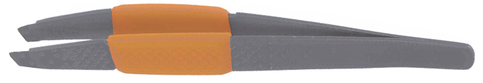 DEWAL BEAUTY Пинцет косметический с силиконовой вставкой 10 см